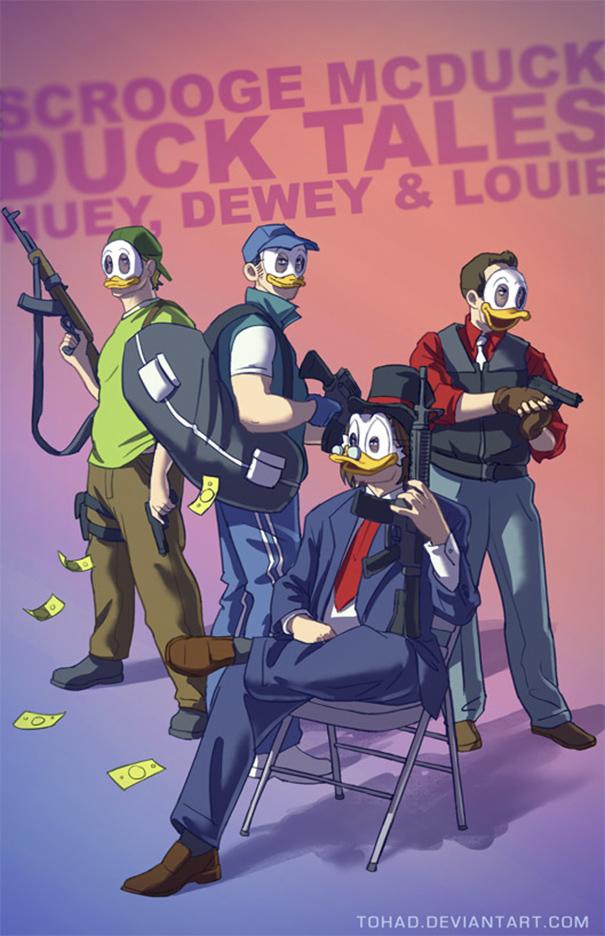 Caricature: Qui, Quo, Qua, Paperone