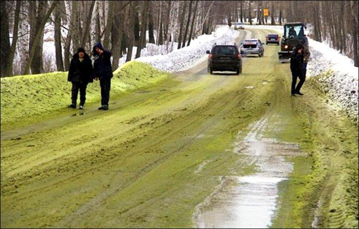 Cambiamento climatico: un tappeto di neve verde ricopre una cittadina nella Russia Occidentale