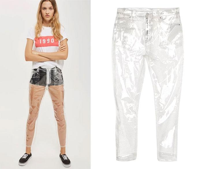 vestiti strani: jeans di plastica trasparenti